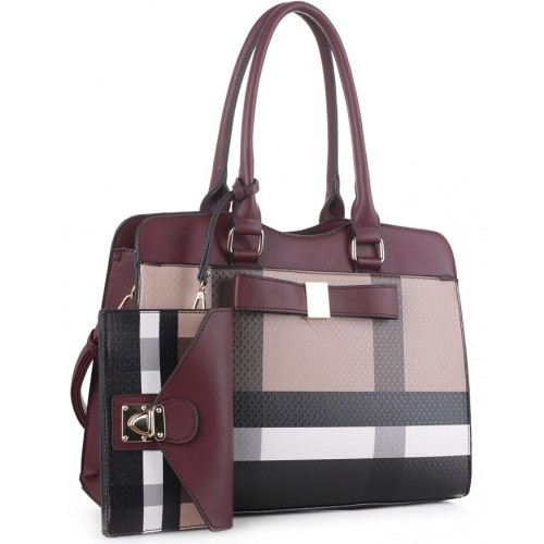 4002 Plaid Check Bow 2-in-1 Satchel