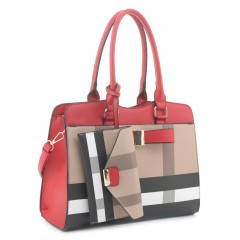 BL4002  Plaid Check Bow 2-in-1 Satchel