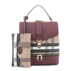 BL1045 Plaid Checker 2in1 convertible backpack satchel